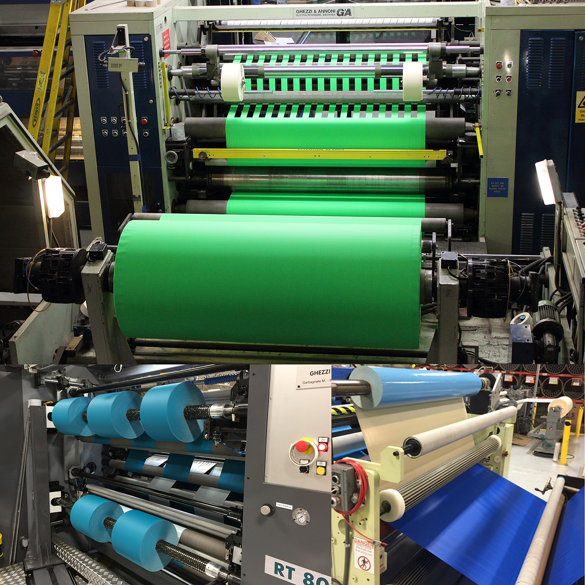 Pro Tapes® has eleven wide web slitting units of which six are fully automated. Wide web laminating up to three substrates 1800mm wide and narrow web laminating up to five substrates 300mm wide with full capabilities to slit, die cut or print product inline.