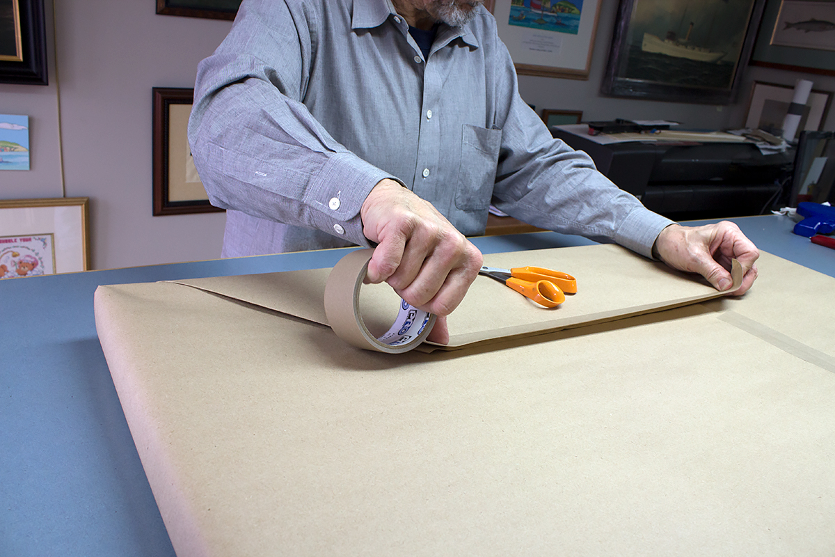 Utilizing Pro® 183 Kraft Tape to complete the wrapping of the frame job for that gallery finish.
