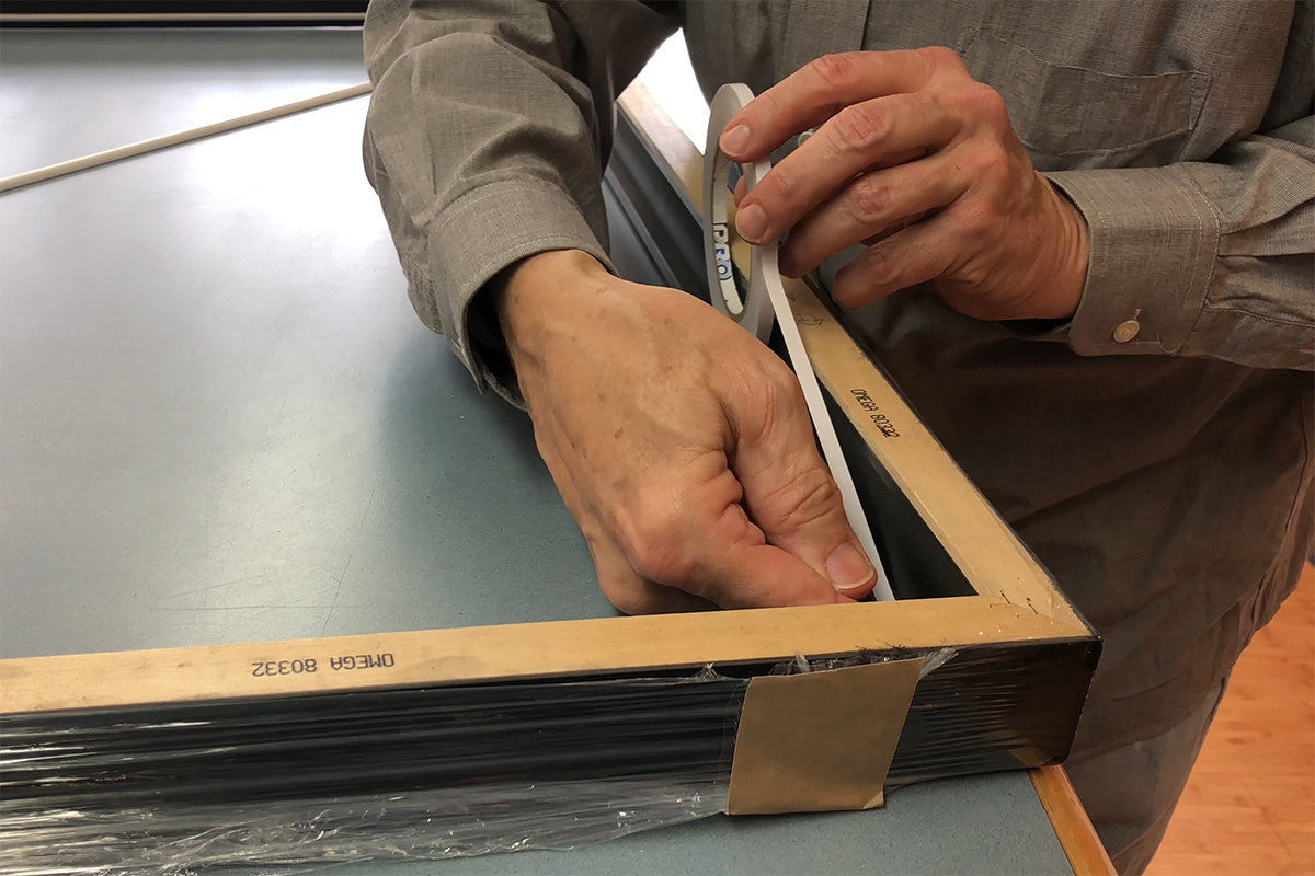 Lining the picture frame rabbet with Pro® Fillet for easy application of fillet to the frame.