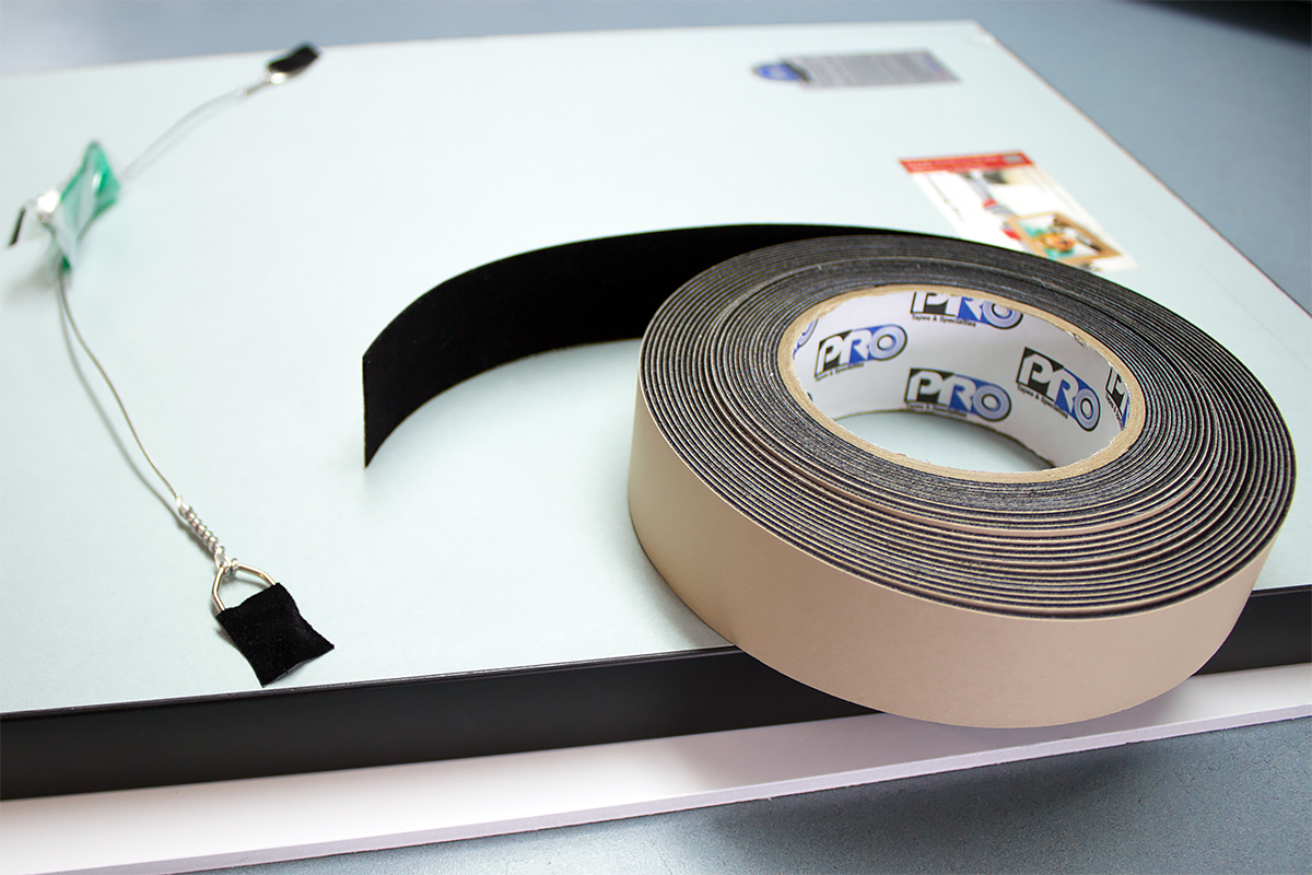 Pro® Felt Tape can be used to cover hanging hardware on frames to protect wall surfaces.