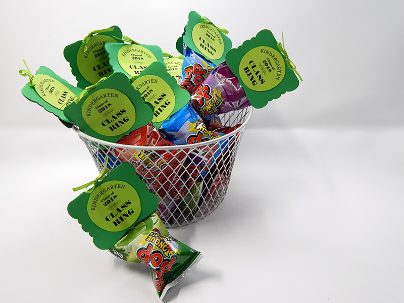 A basket full of finished party favors.