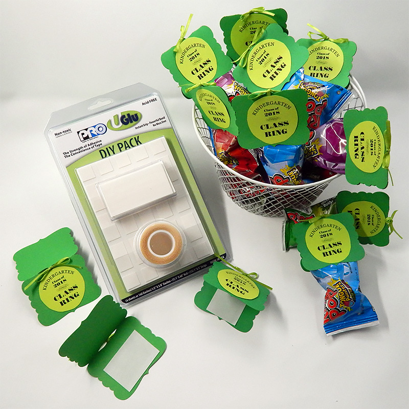 Materials used to create class ring favor tags featuring adhesives in the UGlu® DIY Pack