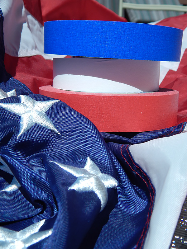 Materials used to make this decorative American flag canvas.