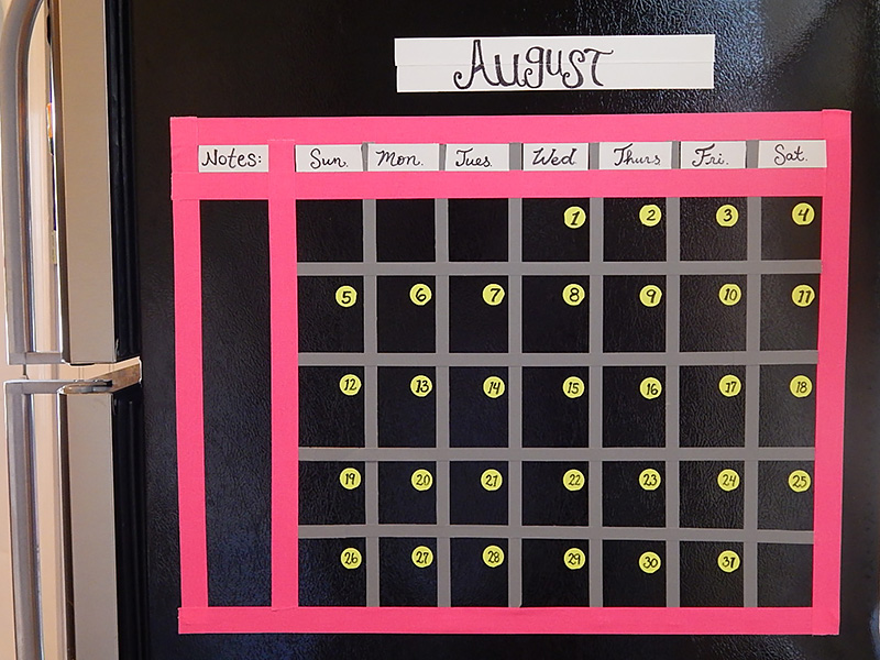 Use Pro Gaff® to create a calendar on the side of your fridge