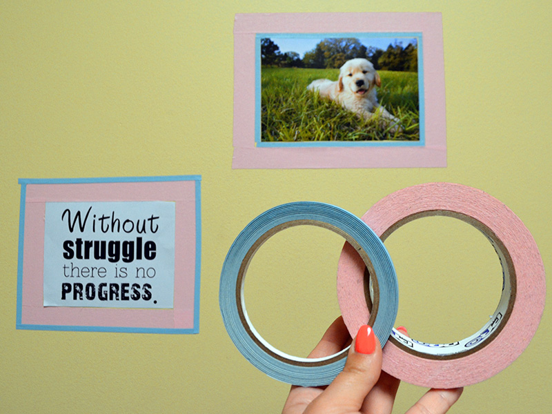 You can create faux frame using these four tapes.