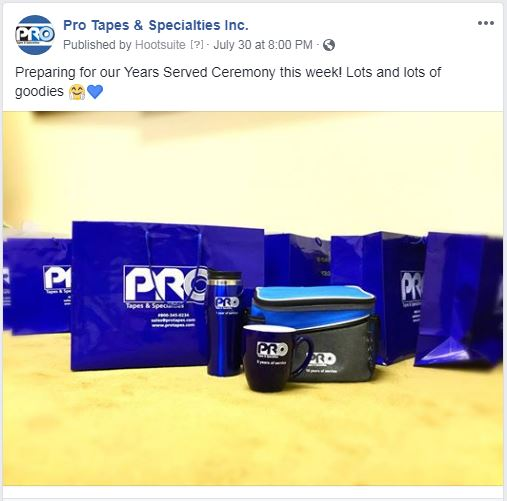 Social Media Post Displaying Pro Tapes® Company Culture of Employee Appreciation