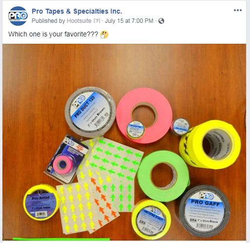Social Media Post Displaying Pro Tapes® Products