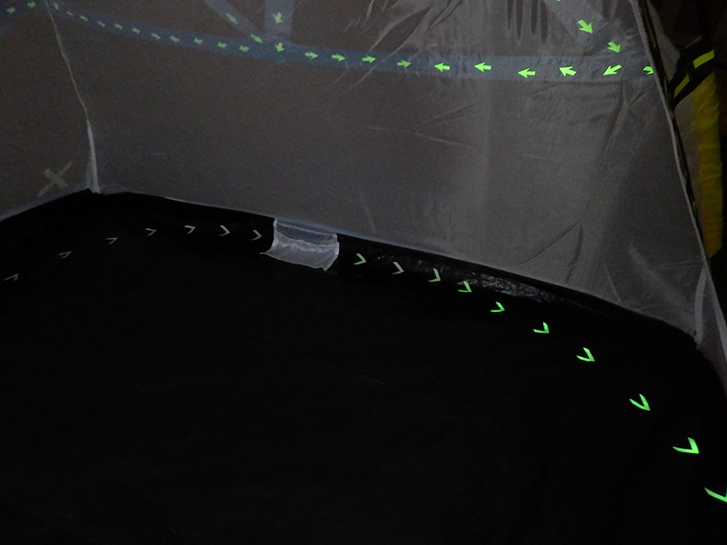 Along the floor of the tent we used the Pro Glow Gaff® chevron shaped pre-cut pieces all pointing back around to the door of tent.