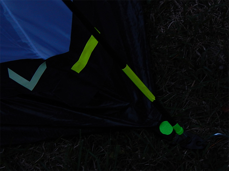 I continued with that thought and added the fluorescent strips on the poles and stakes all around the tent.
