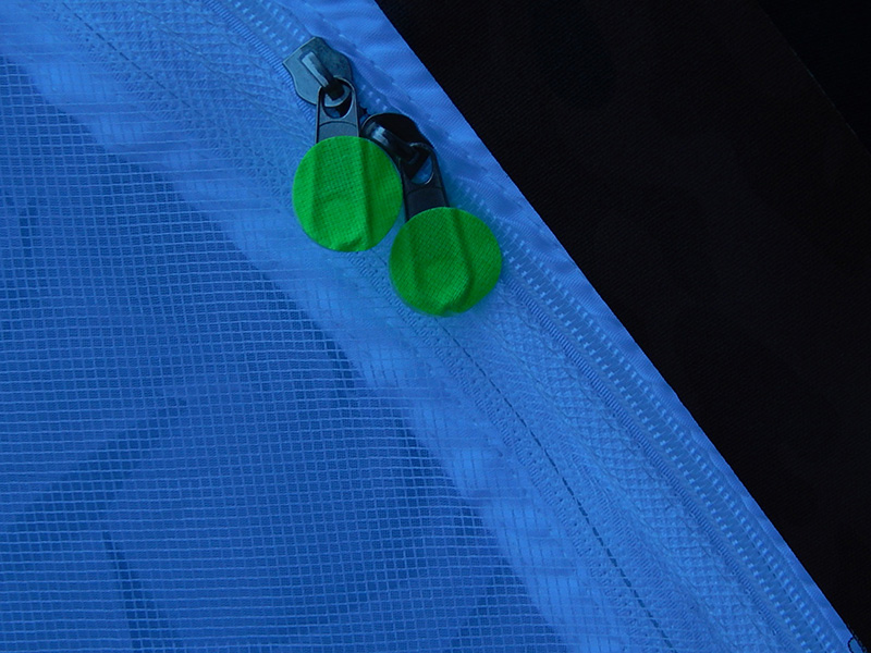 I couldn't stop there! Love how easy it is to see these Pro Gaff® Fluorescent Dots; I took two and sandwiched them on each zipper pull. BRILLIANT!