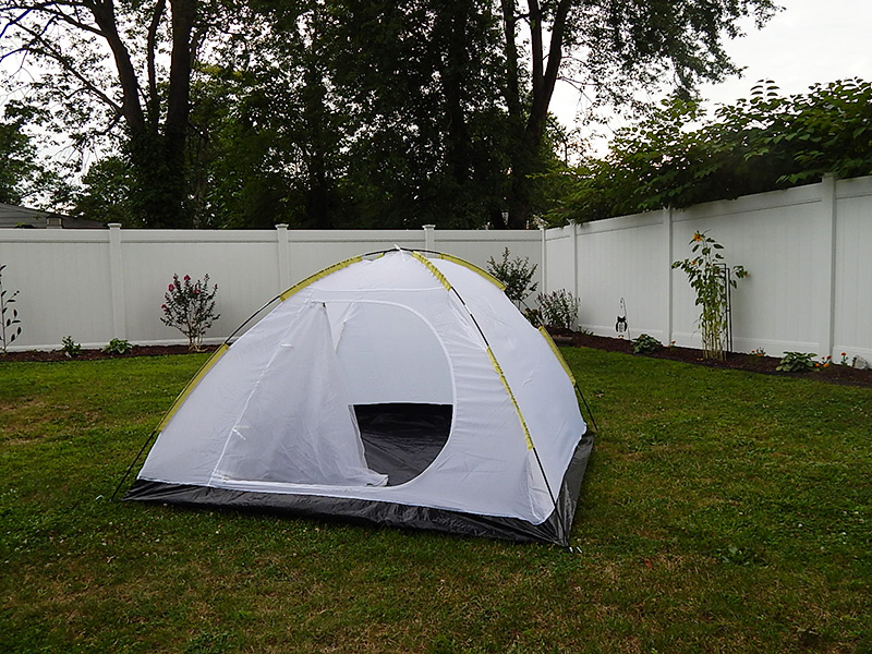 We started out with a pretty basic tent. It was so plain that we had to of course add our own flair to it! Luckily, I had Pro Gaff® on hand!