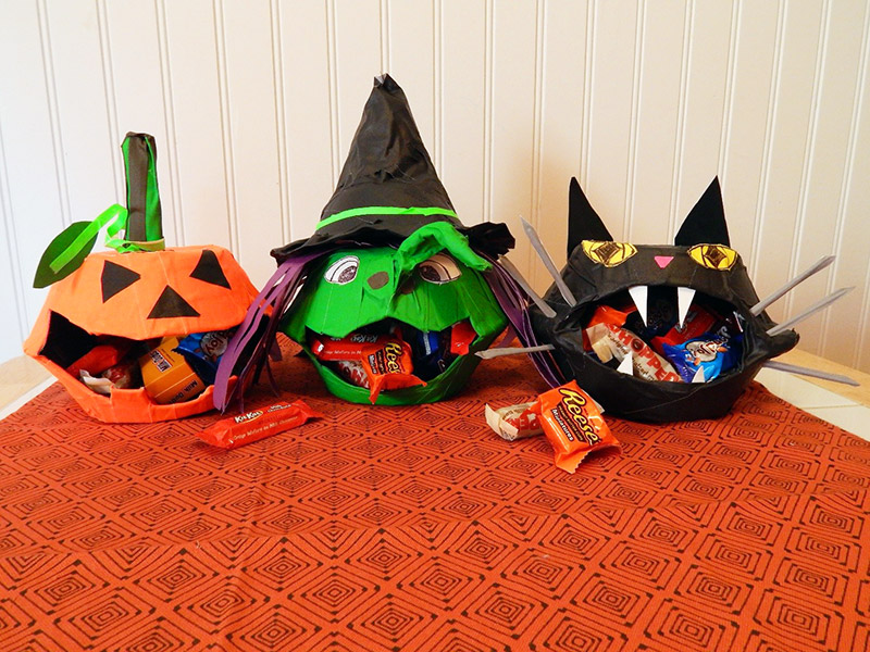 All three completed Pro Gaff® DIY Halloween Candy Bowls