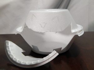 "Cut out the mouth and begin to tape the inside area of both bowls with 2"" Black Pro Gaff®."