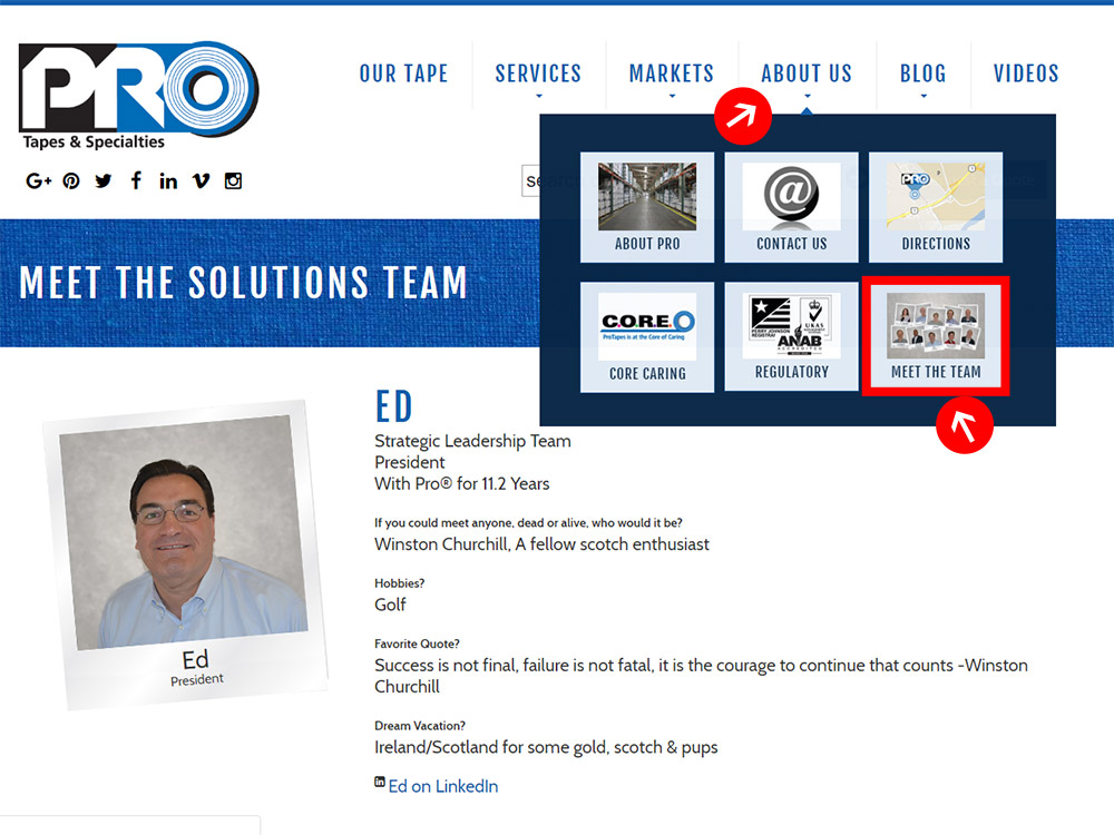 Meet the Solutions Team features a look at some of the staff behind ProTapes.