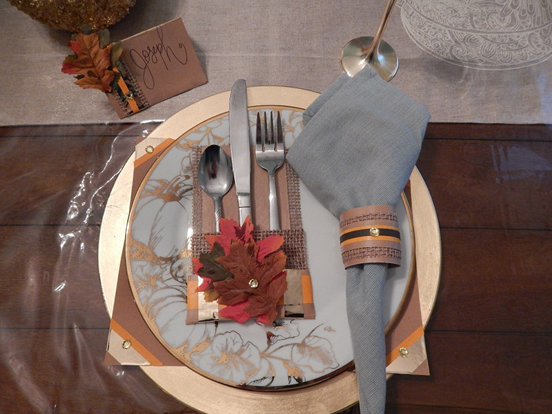 To complete the look, and to get that cohesive feel, I added pieces here and there of gold Pro® Sheen and some faux fall leaves from my garlands to all 4 of my table decor items and layered them together with...DUN-DUN-DUN…UGlu®!