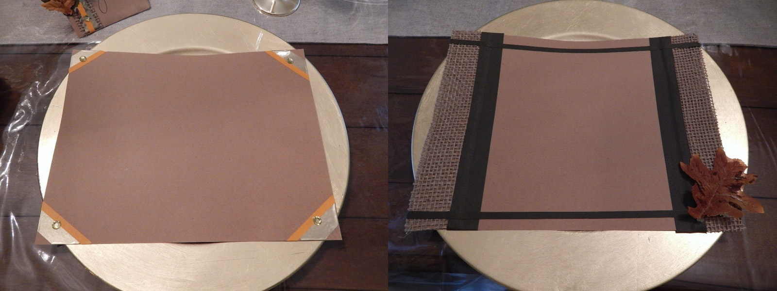 I did the same with burlap on cardstock and made a few patterns that I decided to use as placemats. I used UGlu® to attach the burlap to the card stock. I also used other tapes such as Pro® Artist tape and Pro® Gaff in black as embellishments.