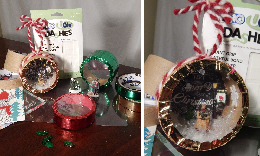 I turned an empty Pro Tapes® core into a super cute snow globe using a piece of laminating sheet to close off the front.