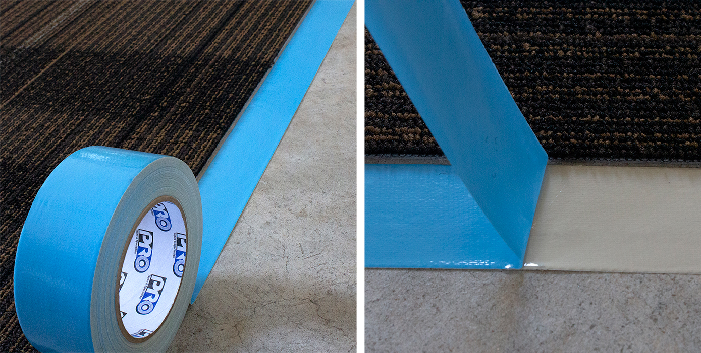 For seamless carpet installation: Pro® 500B is a double sided cloth tape with a blue poly liner used to secure carpet to the concrete convention floors.