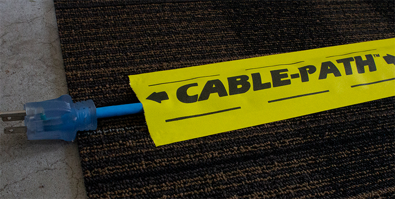 For neat & safe cable hold down: Cable Path® is a premium vinyl coated cloth tape that is coated on both edges with a premium cured rubber adhesive system.