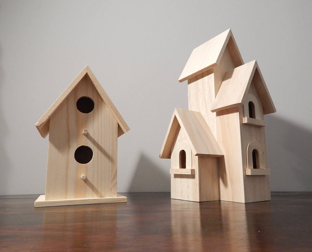 Beginning with blank wooden birdhouses, which I'll apply Pro Tapes to