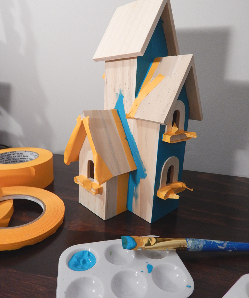 Creating the second birdhouse, using Pro Artist Tape to mask out edges and shapes for painting