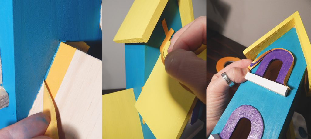 Pro Artist Tape makes it easy to mask, paint, and peel off the tape off these birdhouse details
