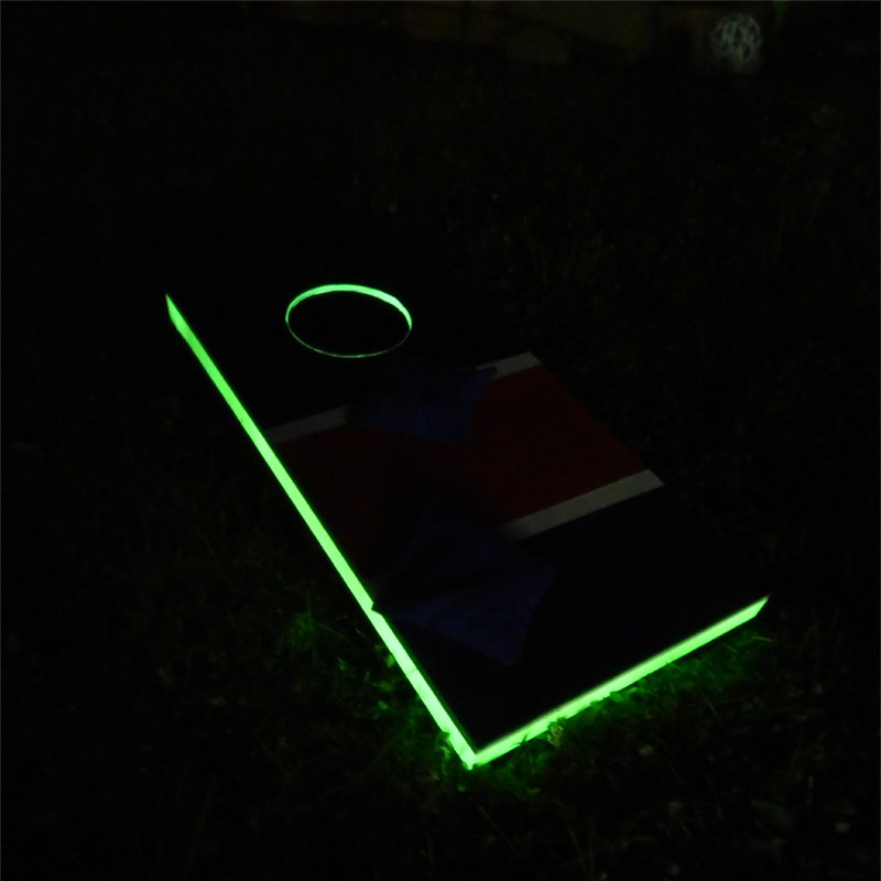 The cornhole game board glows in the dark with the help of Pro Glow and Pro Glow Gaff. Great for long summer nights!