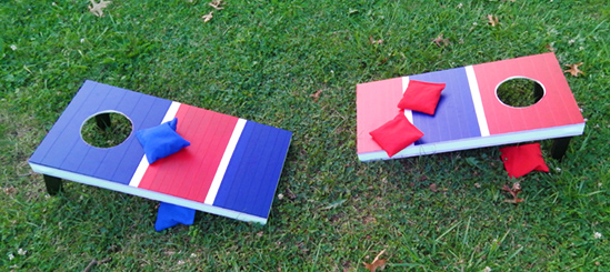 Cornhole game boards by Becky Sarkozy, made with Pro Tapes specialty tapes