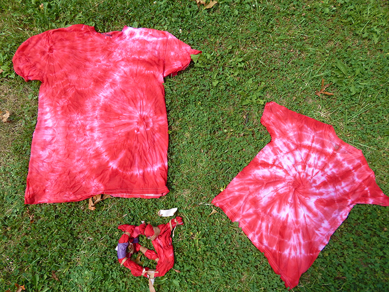 A finished red tie-dye shirt, made with Pro Gaff tape