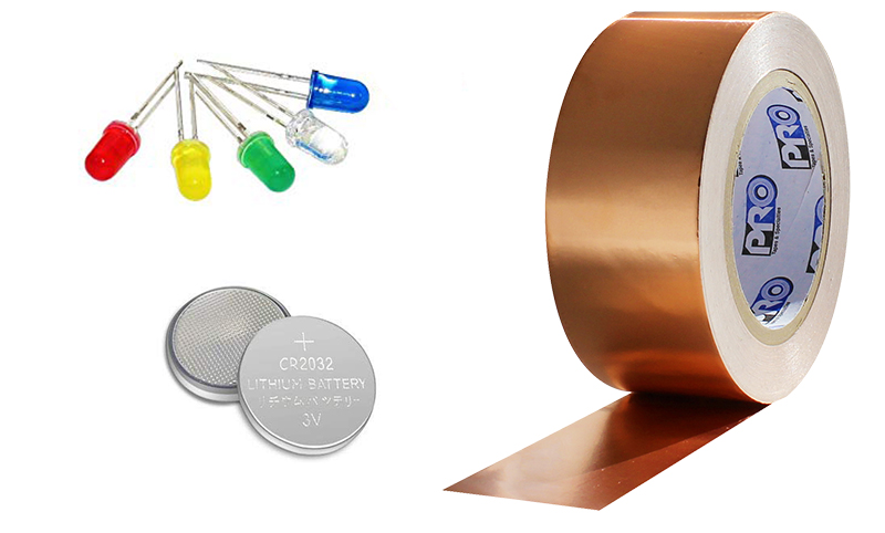 led lights coin battery and pro 882l conductive copper tape for makerspace