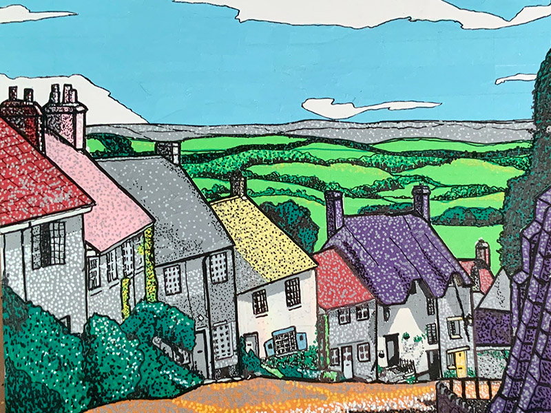 Painting of an english village made with Pro 46 paper tape and acrylic paint