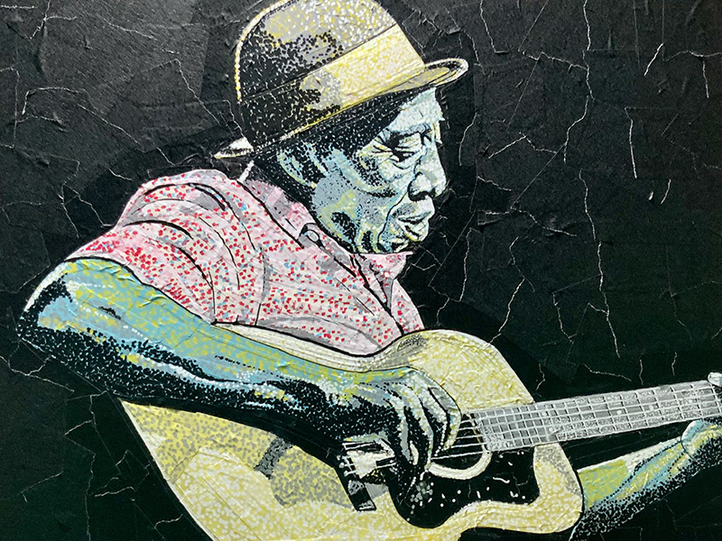 Portrait of a musician Mississippi John Hurt made with Pro 46 paper tape and acrylic paint