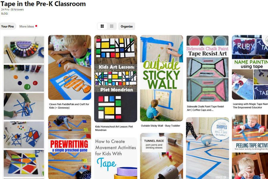 Check out our Pinterest Board for more ideas on how to use tape in YOUR Pre-K Classroom!
