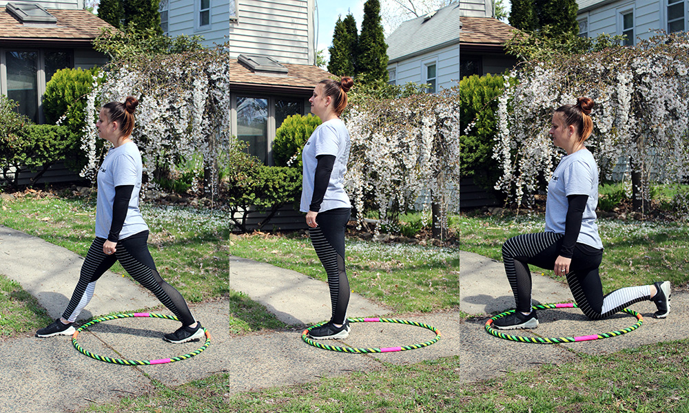Front Lunge, stand inside the hoop with feet in the back