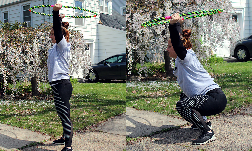 squatting with hula hoop