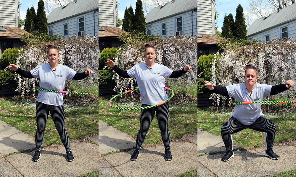 waist hooping with squat