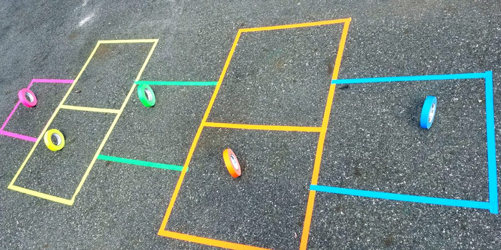 A hopscotch board on a driveway made with Pro Gaff® tape