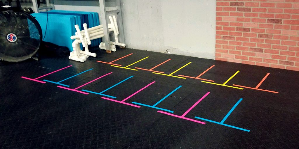 Marking spaces to store cardio equipment with Pro Gaff® tape 01