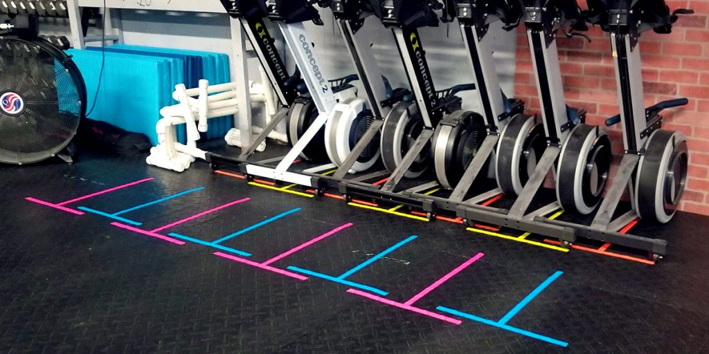 Marking spaces to store cardio equipment with Pro Gaff® tape 02