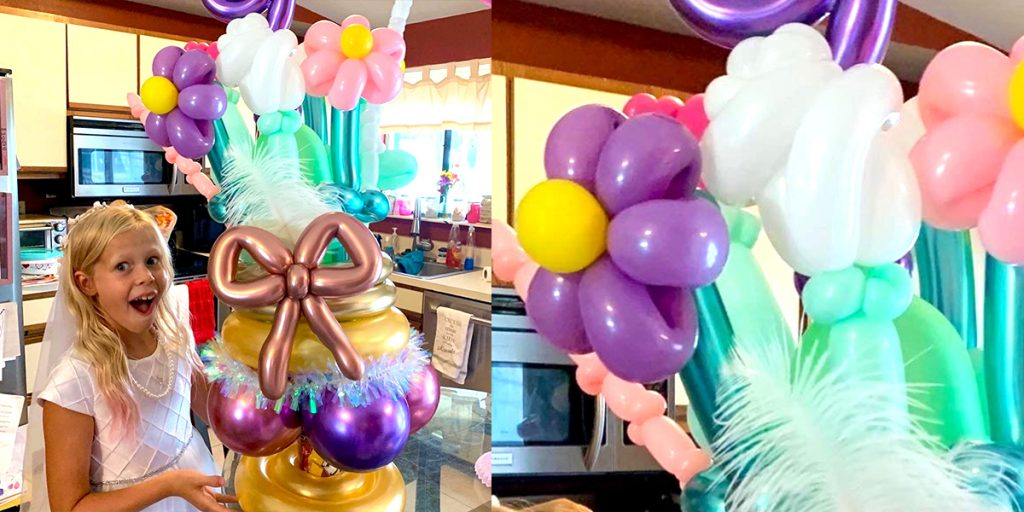 A balloon floral arrangement for a birthday girl, using UGlu!