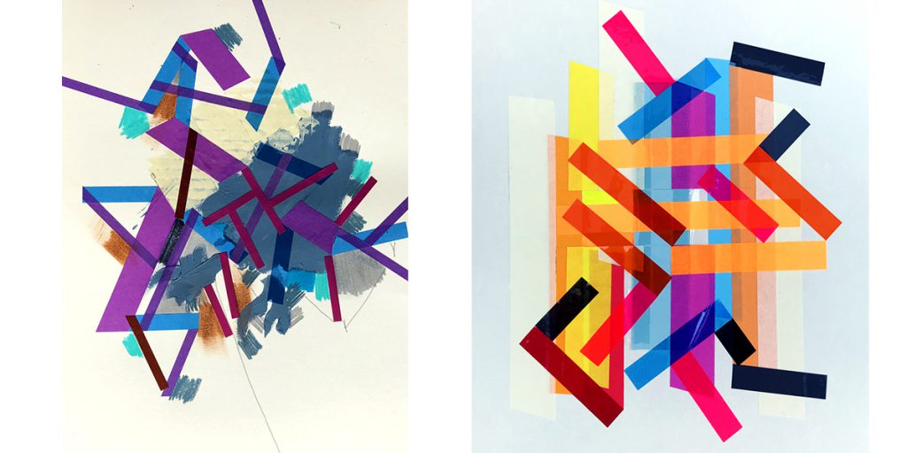 Halaburda likes to combine acrylic paint and felt tip markers with tape to break the angular aspect of the tape