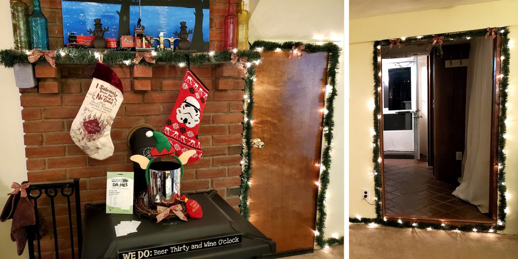 Then I stick my lighted garland and decorations to the UGlu strips