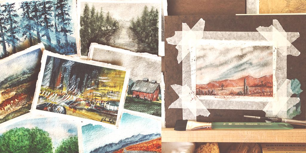 Jen's watercolor paintings are inspired by her photography