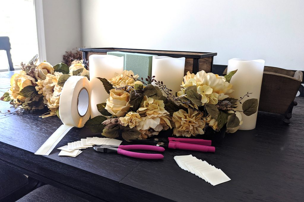 Lay out all of your supplies before you begin assembling your faux floral arrangement
