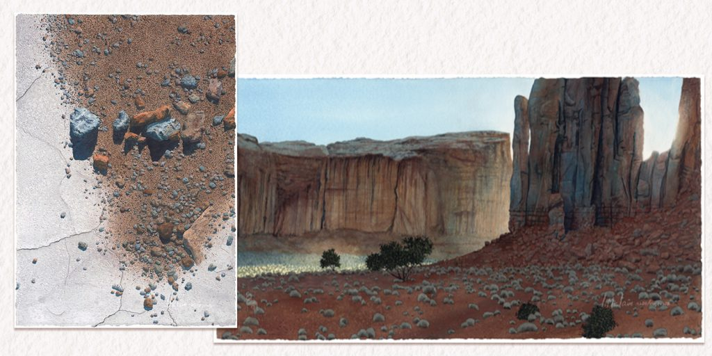 """Watercolor paintings by Lynn McLain. On the left is """"Road Chatter 74,"""" 30"""" x 21"""". On the right is """"Monument Surprise,"""" 16"""" x 30""""."""