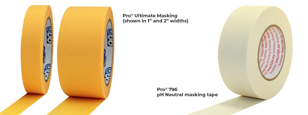 """Pro® Ultimate Masking tape, shown here in 1"""" and 2"""" widths, and a roll of Pro® 796 pH Neutral masking tape."""