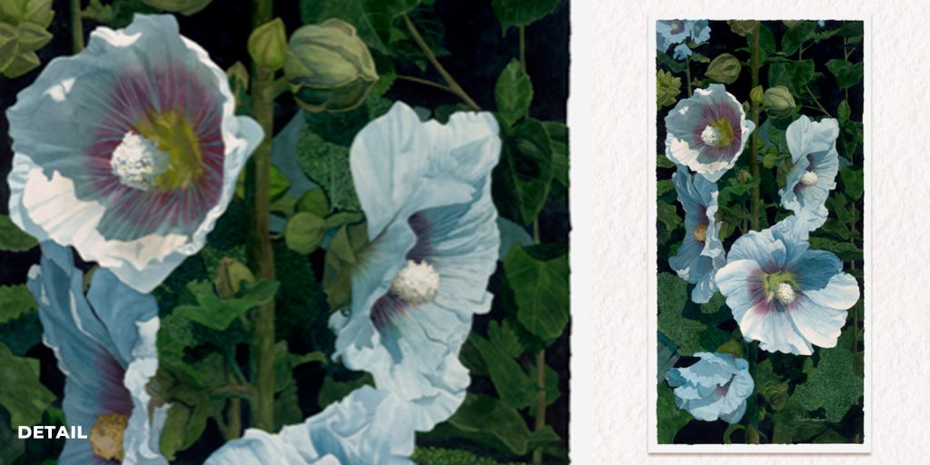 """""""Majestic Hollyhocks,"""" watercolor painting, 53"""" x 26"""". Detail shown on left."""